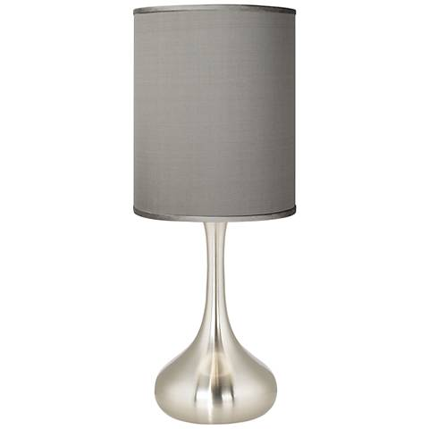 Gray Faux Silk Brushed Steel Droplet Table Lamp