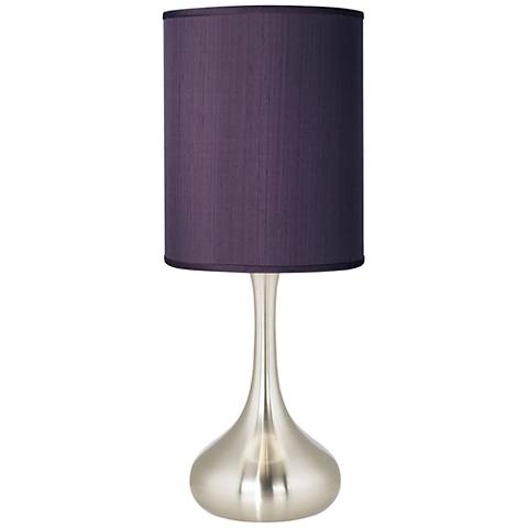 Eggplant Faux Silk Brushed Steel Droplet Table Lamp