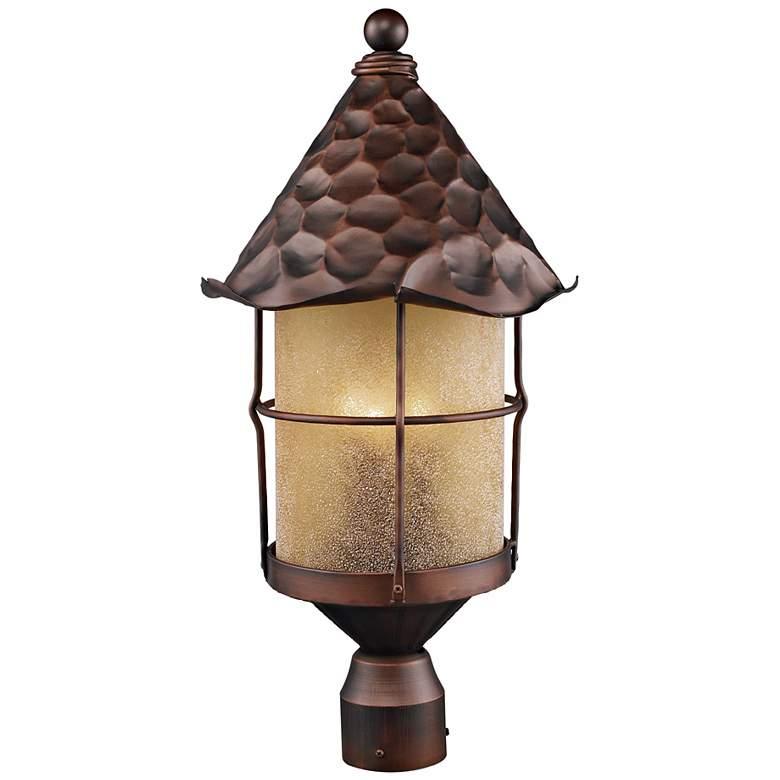 Rustica Antique Copper Scavo Glass Outdoor Post Light