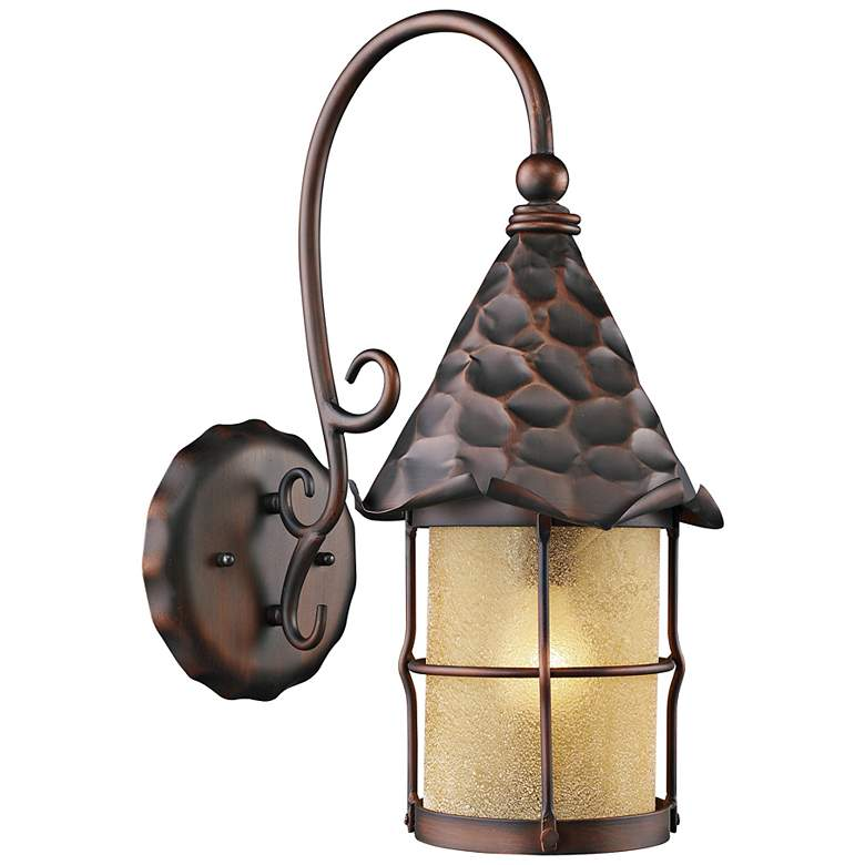 Rustica Antique Copper Amber Scavo Outdoor Wall Sconce