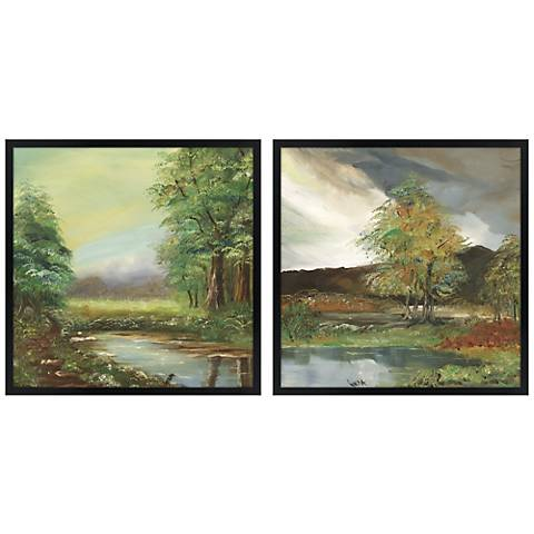 Set of Two Countryside Spring Square Giclee Wall Art