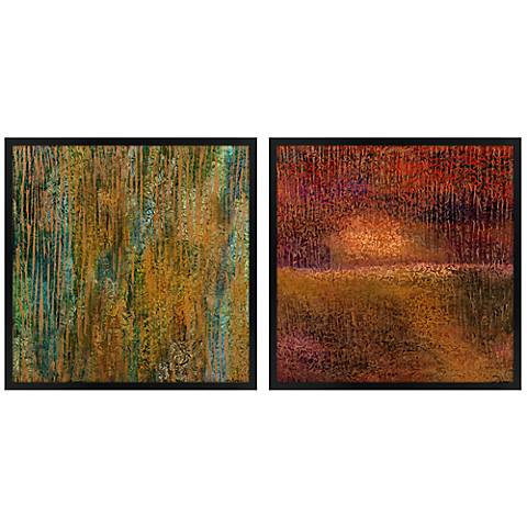 Set of Two Golden Spring Square Giclee Wall Art