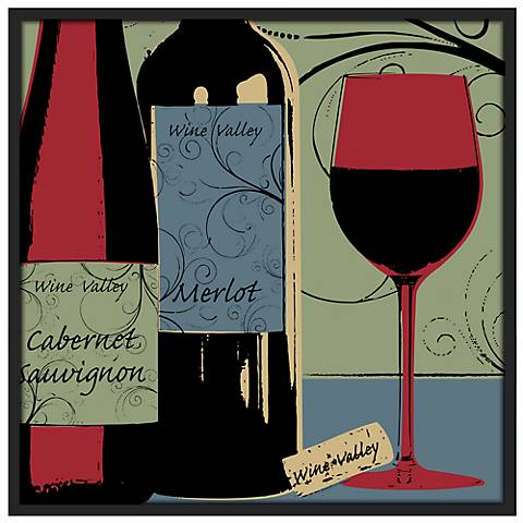 "Wine Tasting 37"" Square Black Frame Giclee Wall Art"