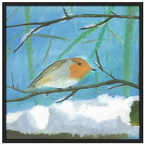 "Snow Sparrow 37"" Square Black Giclee Wall Art"
