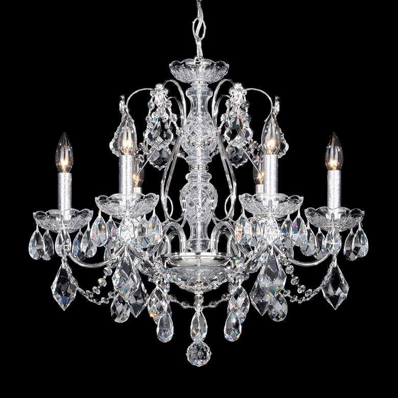 "Schonbek Century 21"" Wide Silver Crystal Chandelier"