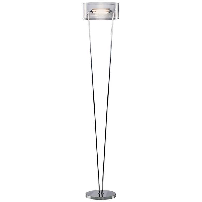 Leucos Vittoria Clear Glass and Chrome Floor Lamp