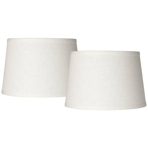 Set of 2 white linen drum lamp shade 10x12x8 spider k4850 k4850 most popular set of 2 white linen drum lamp shade 10x12x8 spider mozeypictures Images