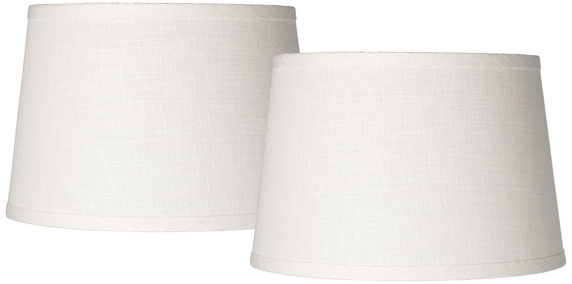 Exceptional Set Of 2 White Linen Drum Lamp Shade 10x12x8 (Spider)