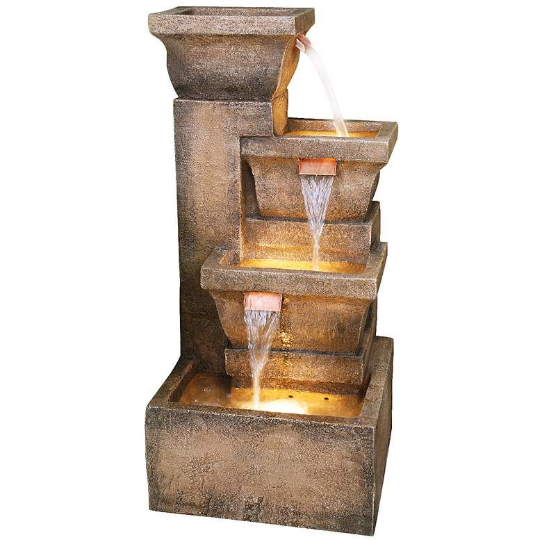 """Ashboro Lighted Indoor-Outdoor 33"""" High Water Fountain"""