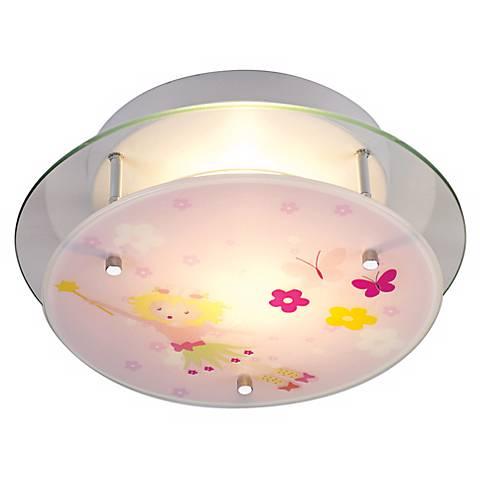 """Fairy Girl 13"""" Wide Semi-Flushmount Glass Ceiling Light"""