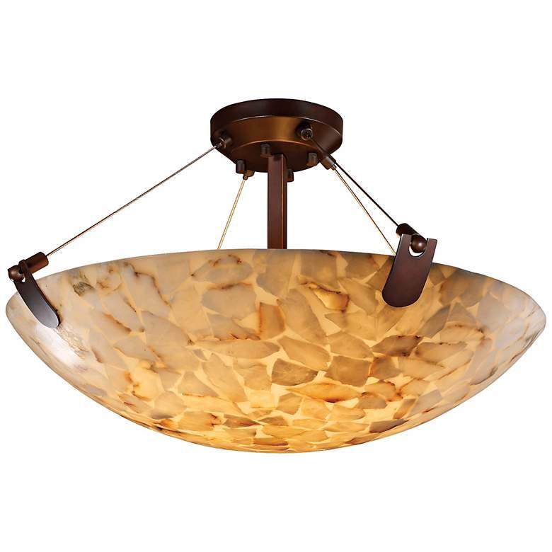"Alabaster Rocks Bronze Trim 18"" Wide Semiflush Ceiling Light"