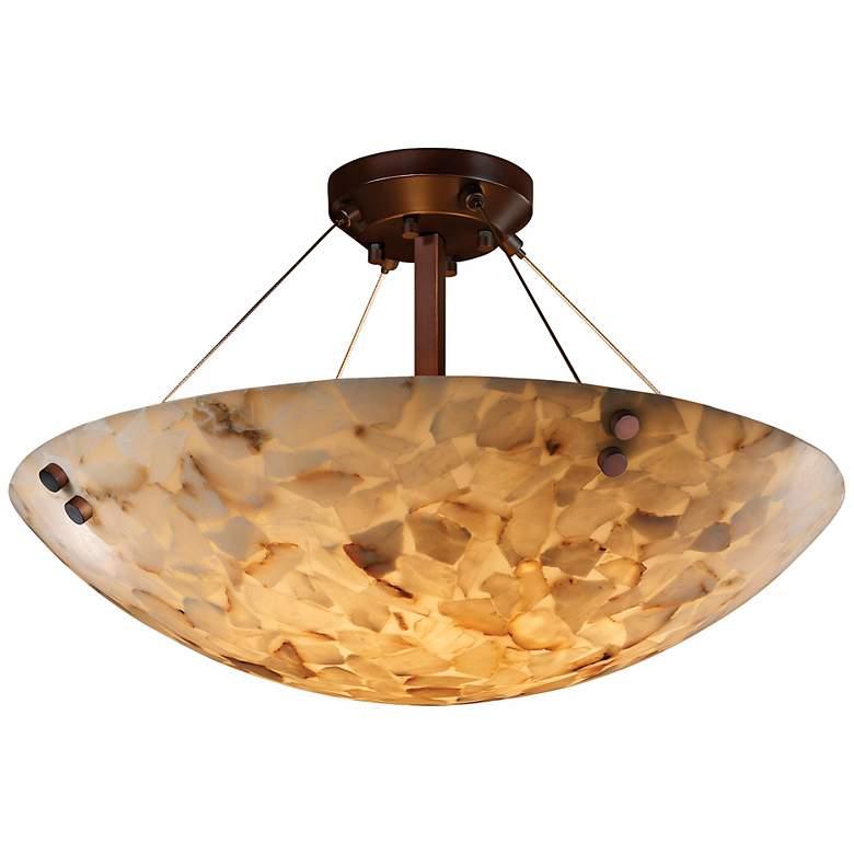 """Alabaster Rock Dark Bronze 18"""" Wide Semiflush Ceiling Light"""