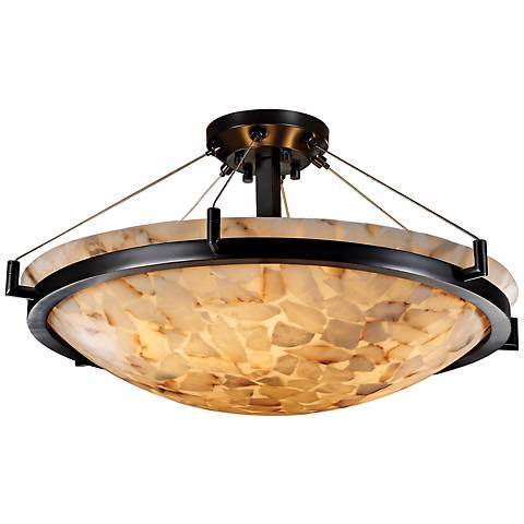 "Alabaster Rocks Matte Black Semiflush 18"" Wide Ceiling Light"