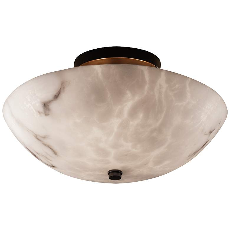 "Justice Lumenaria 14"" Wide Alabaster Round Ceiling Light"