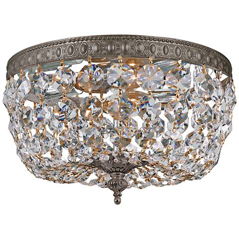 "Crystorama Basket Crystal 10"" Wide Bronze Ceiling Light"