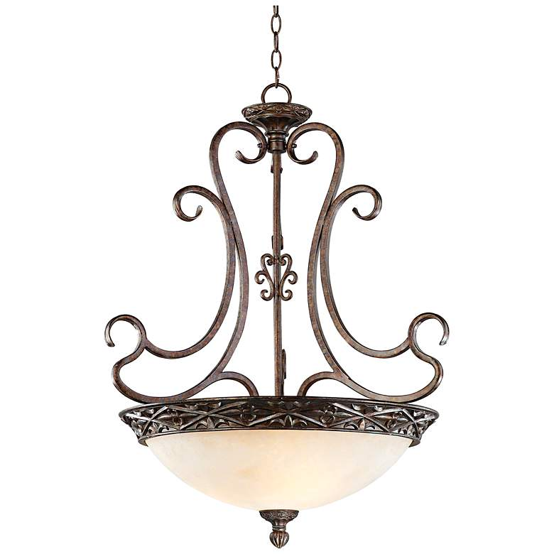 "French Bronze Scroll 26"" Wide Pendant Chandelier"