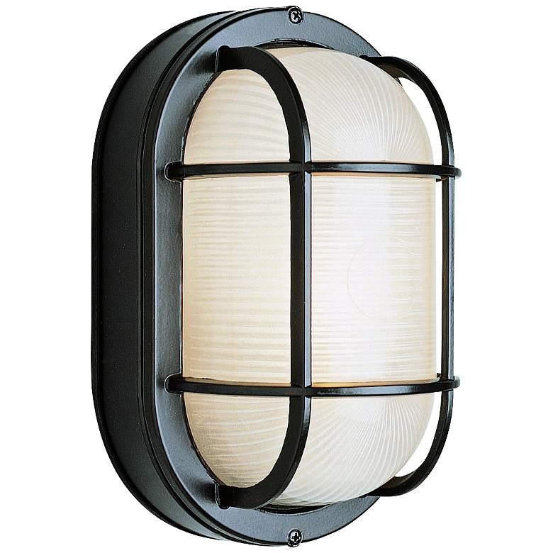 "Bulkhead 8 1/2"" High Black Oval Grid Outdoor Wall Light"