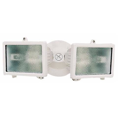 "White Finish 12 1/4"" Wide Twin Halogen Security Light"