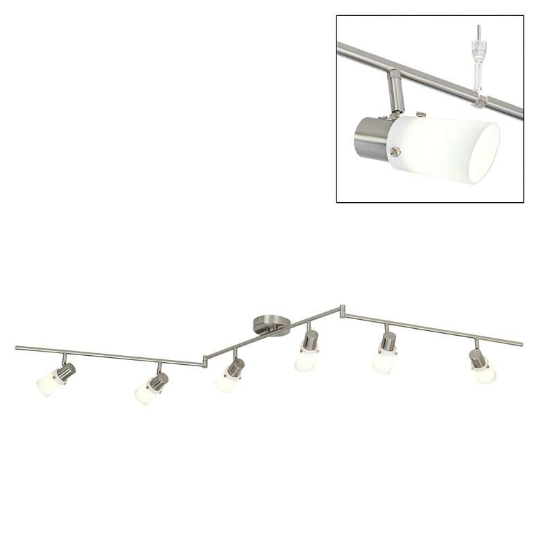 """Opal Glass 71"""" Wide 6-Light Pivot-Arm Ceiling Light Fixture"""