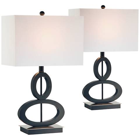 Black and Satin Steel Asymmetrical Ovals Table Lamp Set of 2