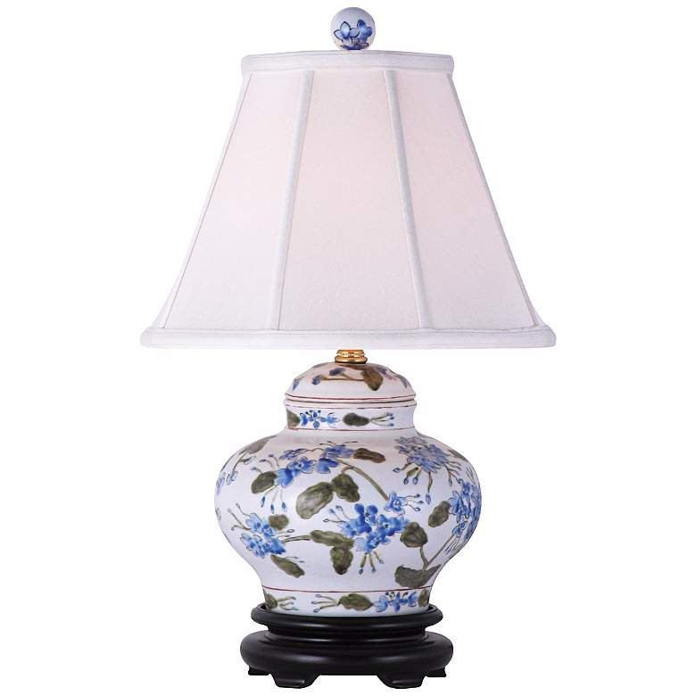 """Blue-Green Floral 15 1/2""""H Hand-Painted Ceramic Table Lamp"""