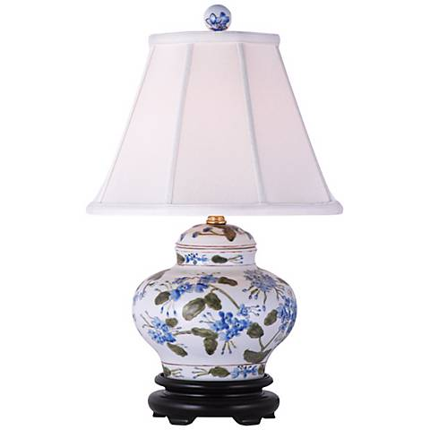 "Blue-Green Floral 15 1/2""H Hand-Painted Ceramic Table Lamp"