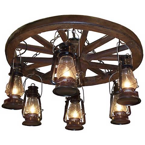 "Amberwood Black Lanterns 36"" Wagon Wheel Chandelier"