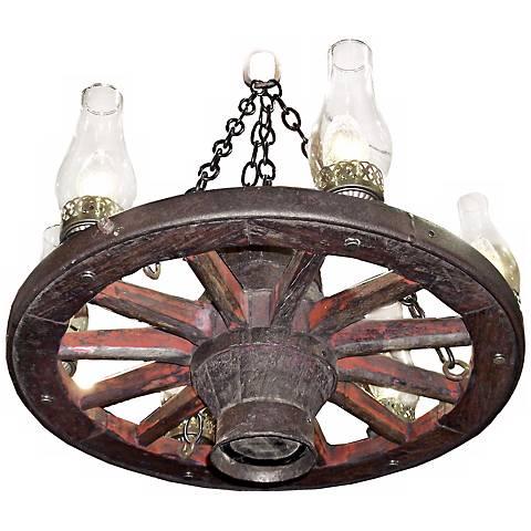 "Amberwood Clear Hurricanes 24"" Wagon Wheel Chandelier"