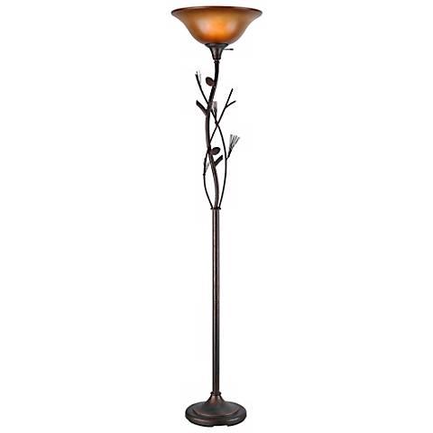 Pine Cone Bronze Finish Torchiere Floor Lamp
