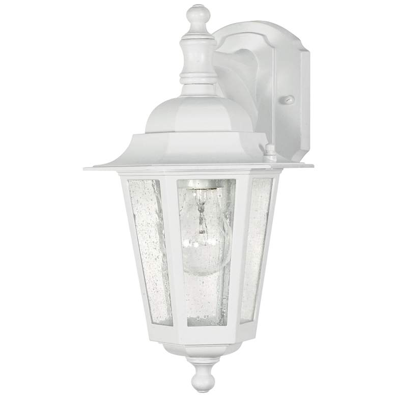 "Cornerstone 13""H White and Seeded Glass Outdoor Wall Light"