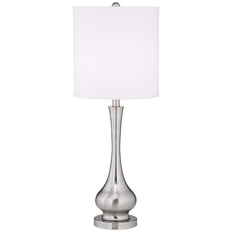 Possini Euro Sleek Gourd Brushed Nickel Table Lamp
