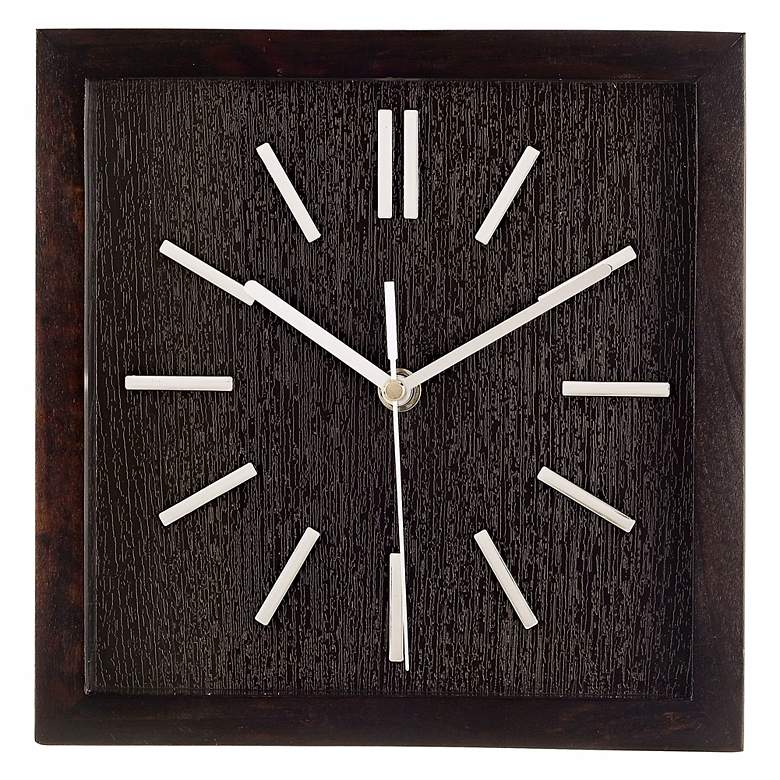 "Retro Espresso Black 9"" Wide Square Wall Clock"
