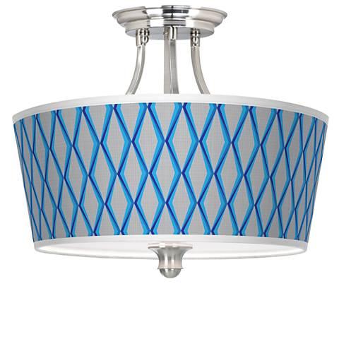 Bleu Matrix Tapered Drum Giclee Ceiling Light