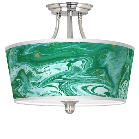 Malachite Tapered Drum Giclee Ceiling Light