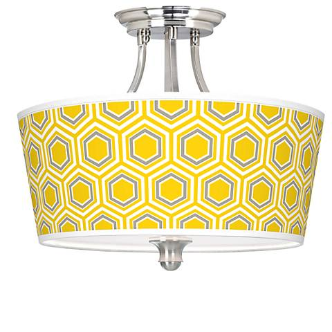 Honeycomb Tapered Drum Giclee Ceiling Light