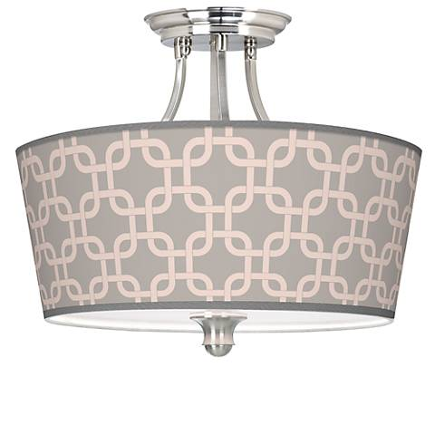 Smoke Lattice Tapered Drum Giclee Ceiling Light