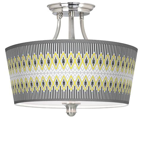 Desert GeometricTapered Drum Giclee Ceiling Light