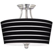 Bold Black Stripe Tapered Drum Giclee Ceiling Light