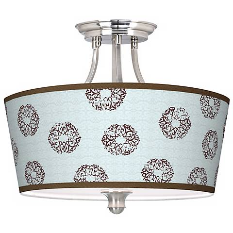 Weathered Medallion Tapered Drum Giclee Ceiling Light