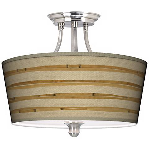 Bamboo Wrap Tapered Drum Giclee Ceiling Light