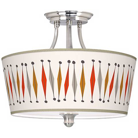 "Tremble Giclee 18"" Wide Brushed Steel Ceiling Light"