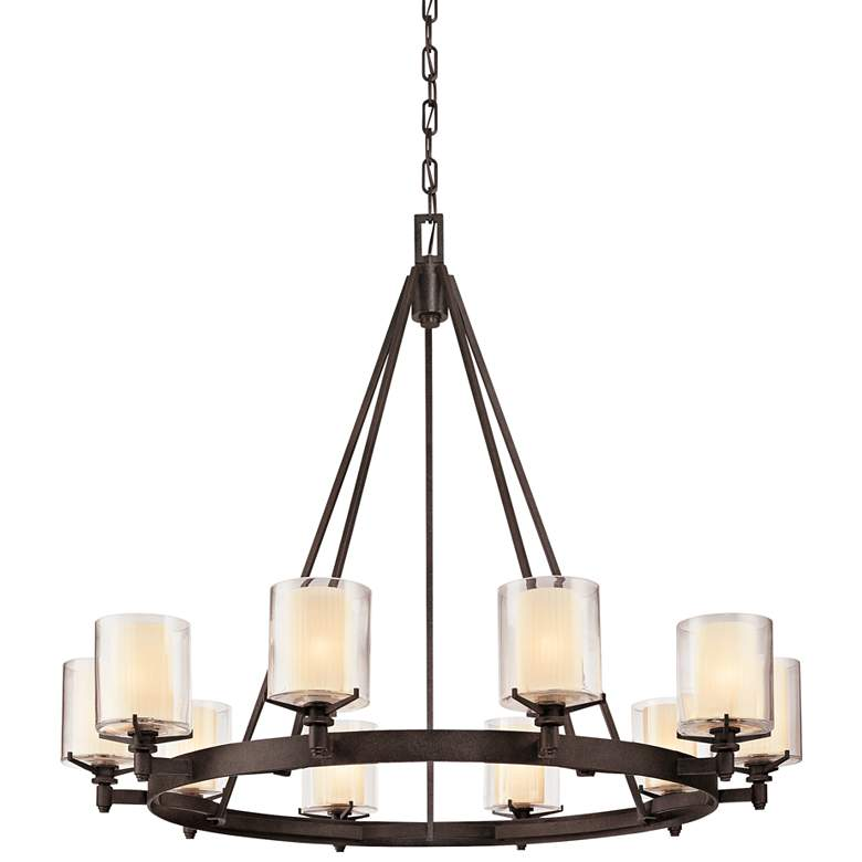 """Arcadia 39 3/4"""" Wide French Iron 10-Light Chandelier"""