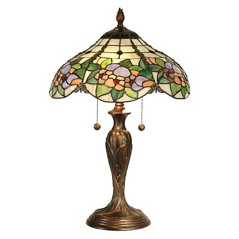 Dale Tiffany Floral Garden Art Glass Table Lamp