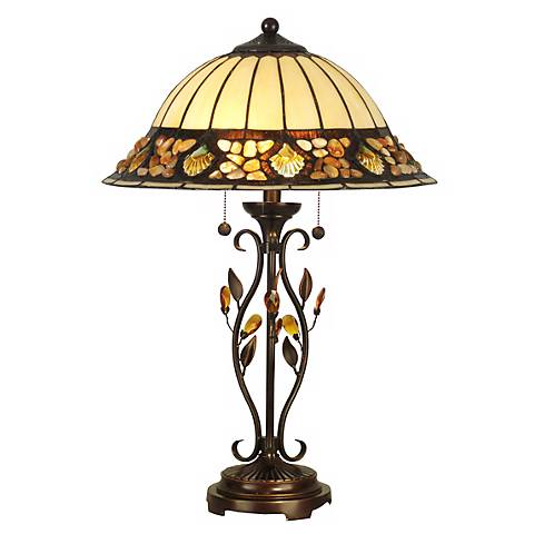Dale Tiffany Crystal Jewel Pebblestone Art Glass Table Lamp