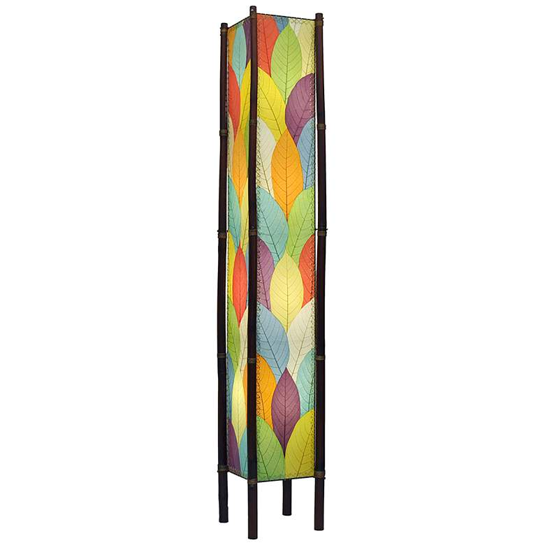 """Eangee Fortune Tower Multicolor Cocoa Leaves 72"""" Floor Lamp"""