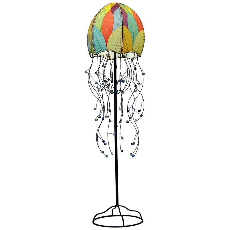 """Eangee Jellyfish Multicolor Cocoa Leaves 64"""" High Floor Lamp"""