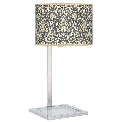 Damask Glass Inset Table Lamp