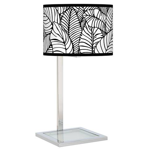 Tropical Leaves Glass Inset Table Lamp