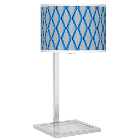 Bleu Matrix Glass Inset Table Lamp