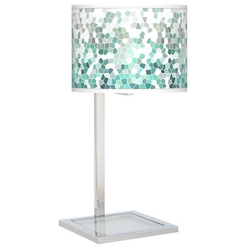 Aqua Mosaic Glass Inset Table Lamp